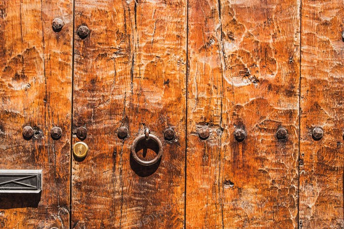 Fragment of relief  wooden door