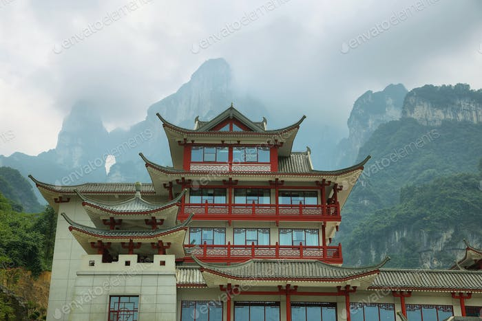 View of nice building and Tianmen cave in Tianmen mountain