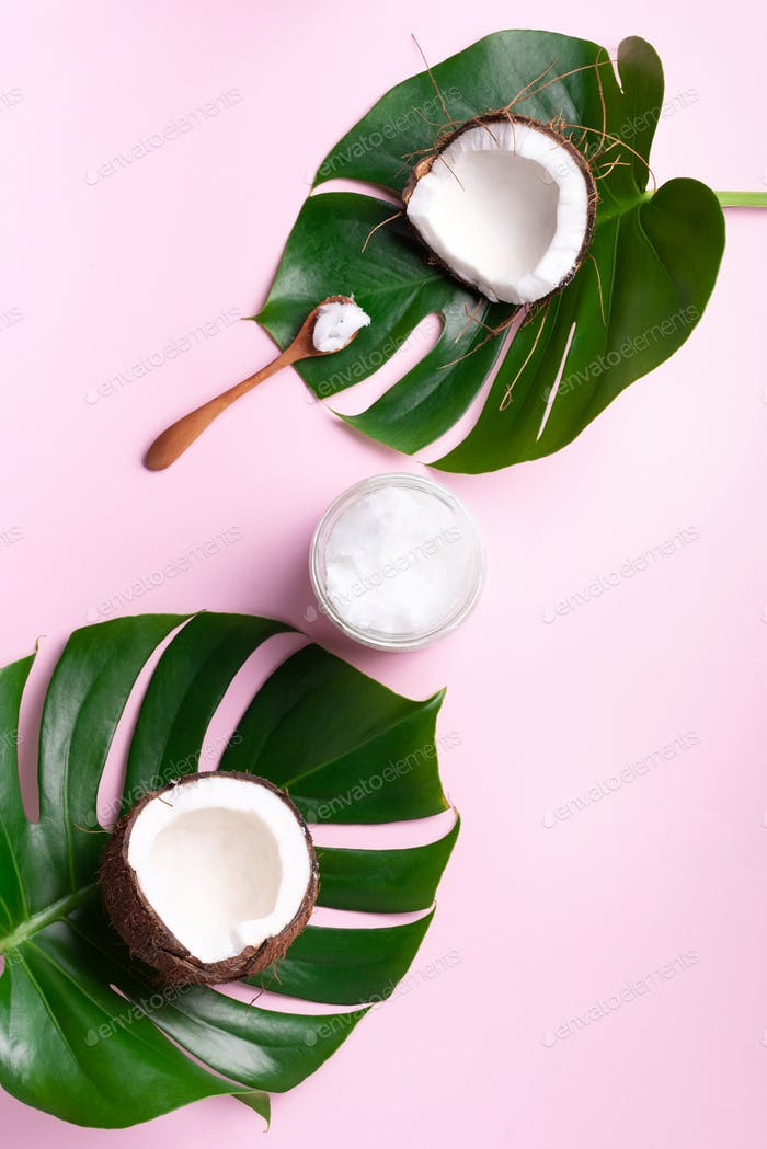 Coconut oil and ripe coconuts, tropical palm and monstera leaves on pink background with copy space