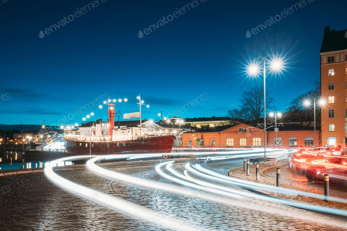 Helsinki, Finland. View Of Pohjoisranta Street In Evening Or Night Illumination