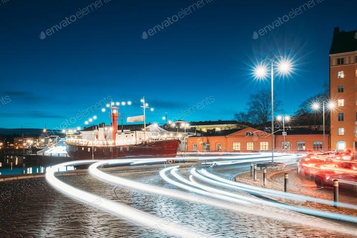 Helsinki, Finland. View Of Pohjoisranta Street In Evening Or Night Illumination