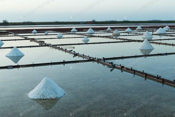 Salt farm in Tainan, Taiwan