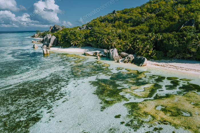 Aerial view of exotic Anse Source d'Argent beach at La Digue island, Seychelles