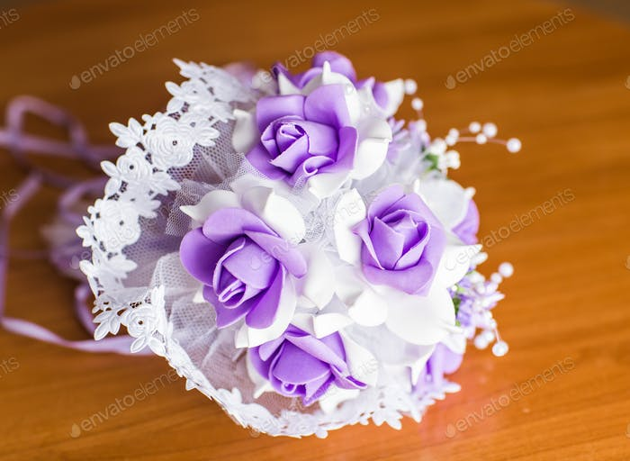 Beautiful purple artificial wedding flowers bouquet