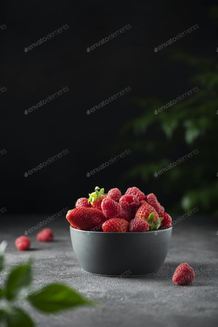 Concept of summer food with strawberry