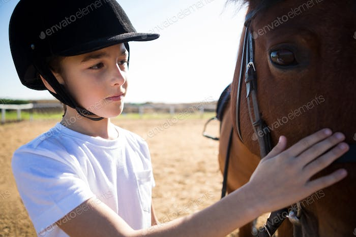 Girl caressing the white horse in the ranch