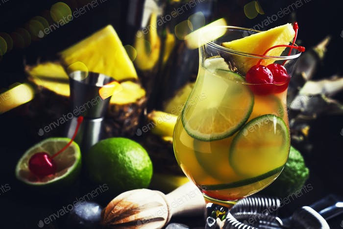 Summer exotic punch cocktail with pineapple juice