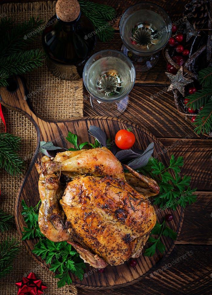 Baked turkey or chicken.