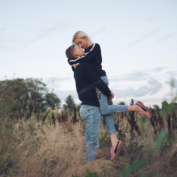 beautiful blonde girl with boyfriend