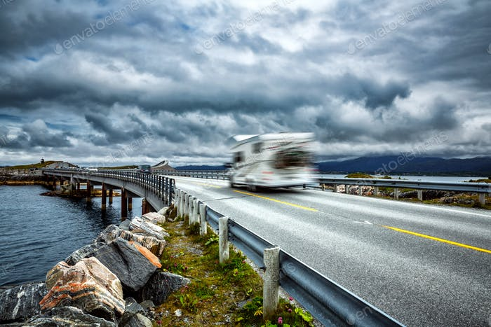 Norway. Caravan car travels on the highway.