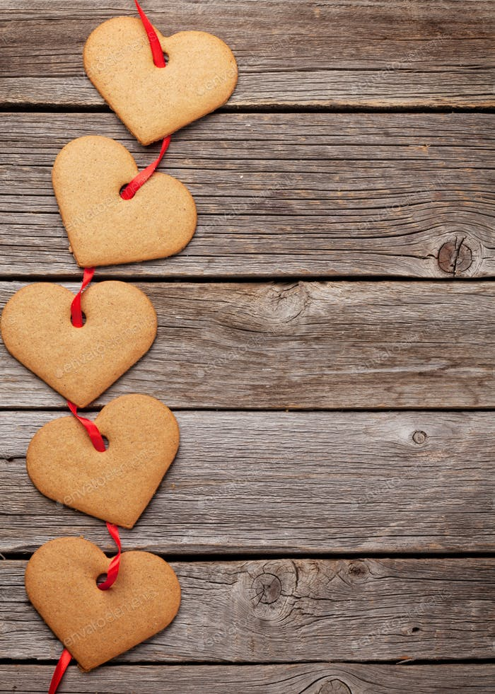 Valentines day greeting card with heart cookies