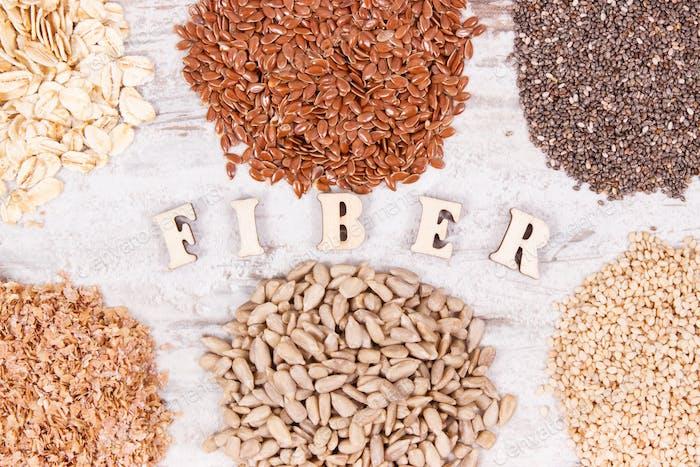 Gesunde Produkte und Inhaltsstoffe als Quelle natürliche Vitamine und Ballaststoffe