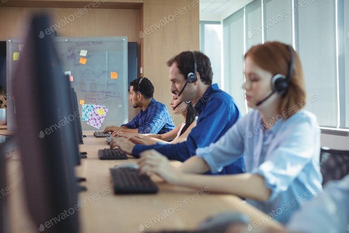 Business people working at call center
