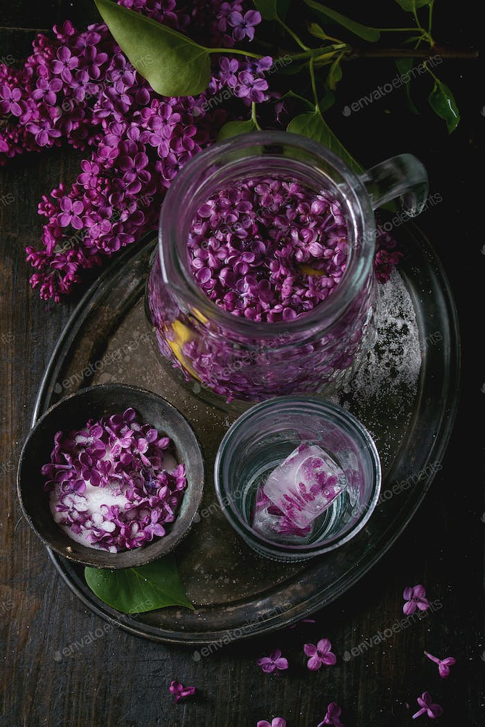 Lilac flowers in sugar