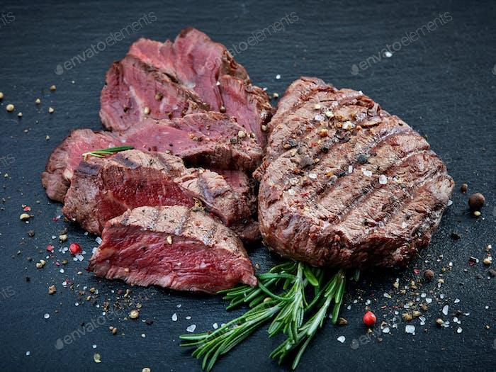 grilled beef fillet steak meat