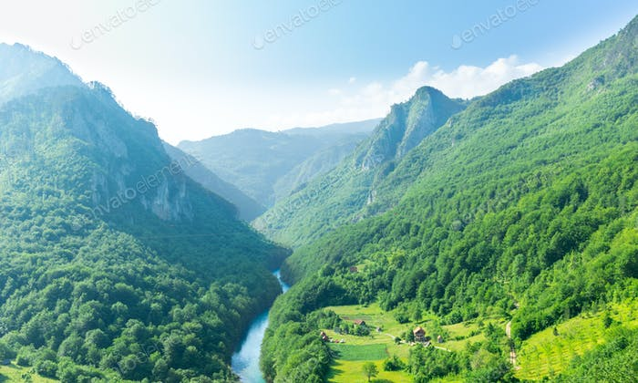 Mountain valley with beautiful blue sky