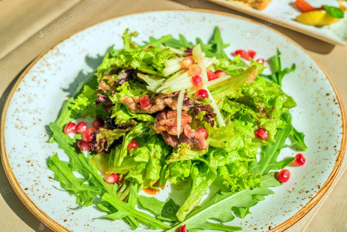 Fusion salad with duck meat