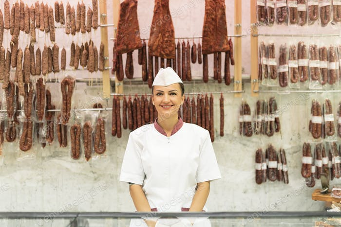 Pretty Butchery Woman working.
