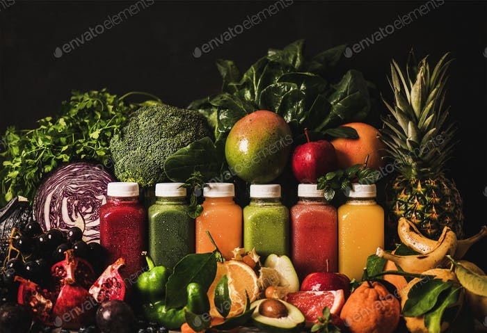 Fresh smoothies or juices for detox program or weight loss