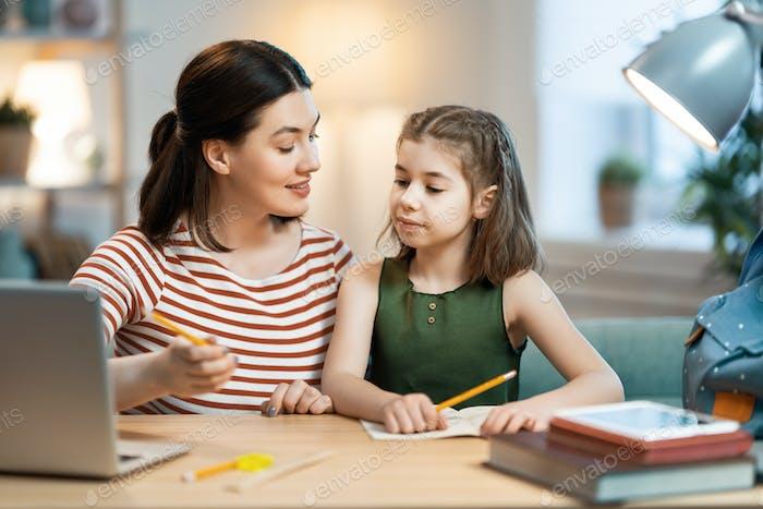 Girl doing homework or online education.