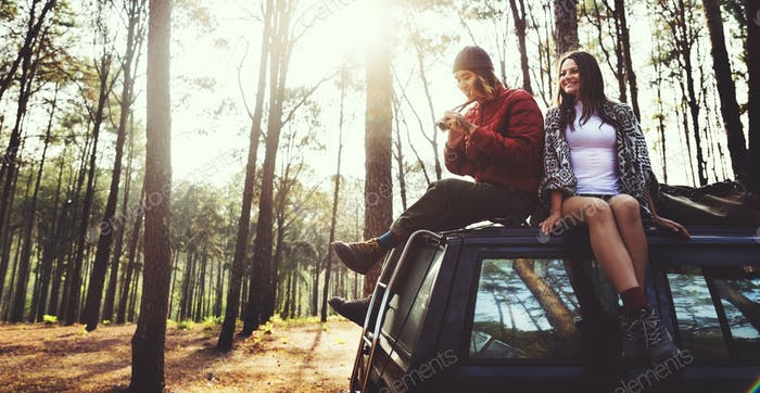 Roadtrip Camping Friendship Camera Couple Concept
