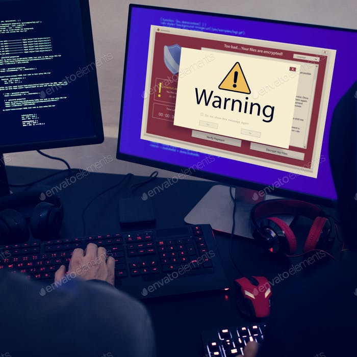 Computer with warning pop up sign window