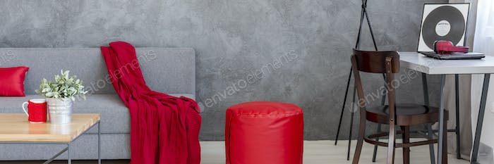 Red decorations in living room design