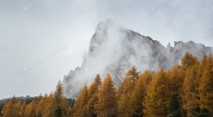 Beautiful autumn day in the Dolomites mountains