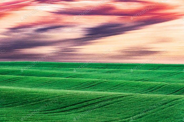 Abstrakte ländliche Landschaft mit landwirtschaftlichen Feldern