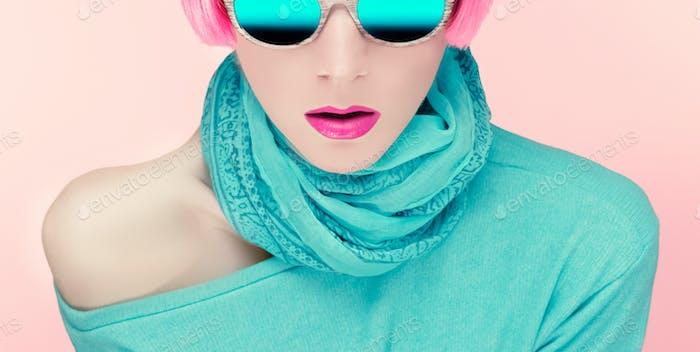 Glamorous young woman in stylish sunglasses