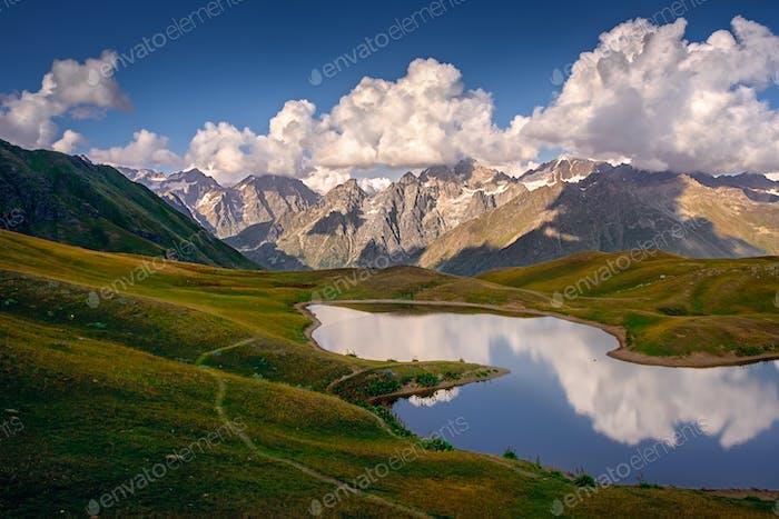 Beautiful mountain landscape view of Koruldi lakes in Svaneti, Country of Georgia