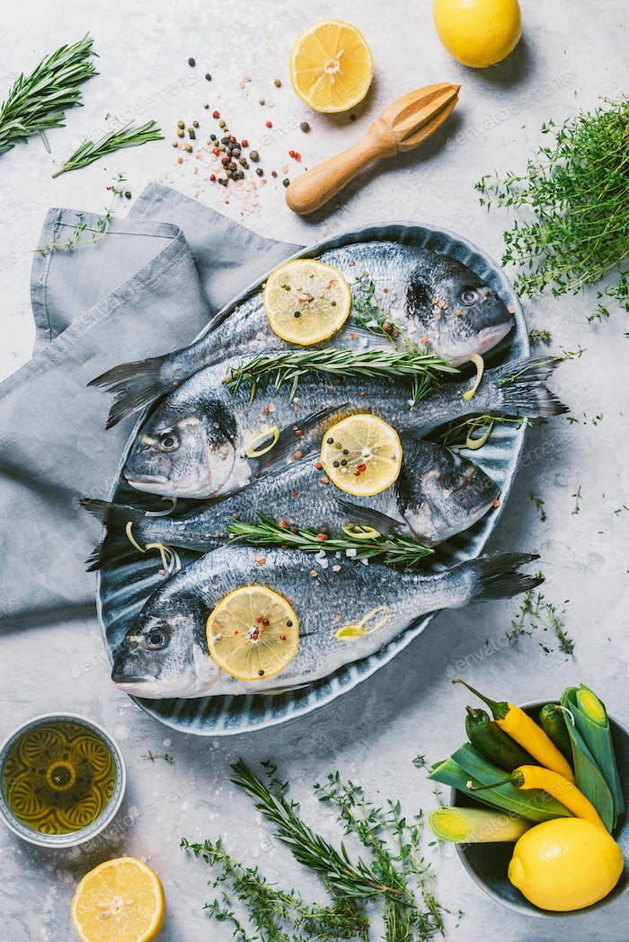 Fresh uncooked dorado or sea bream fish with lemon, herbs, oil, vegetables and spices on concrete