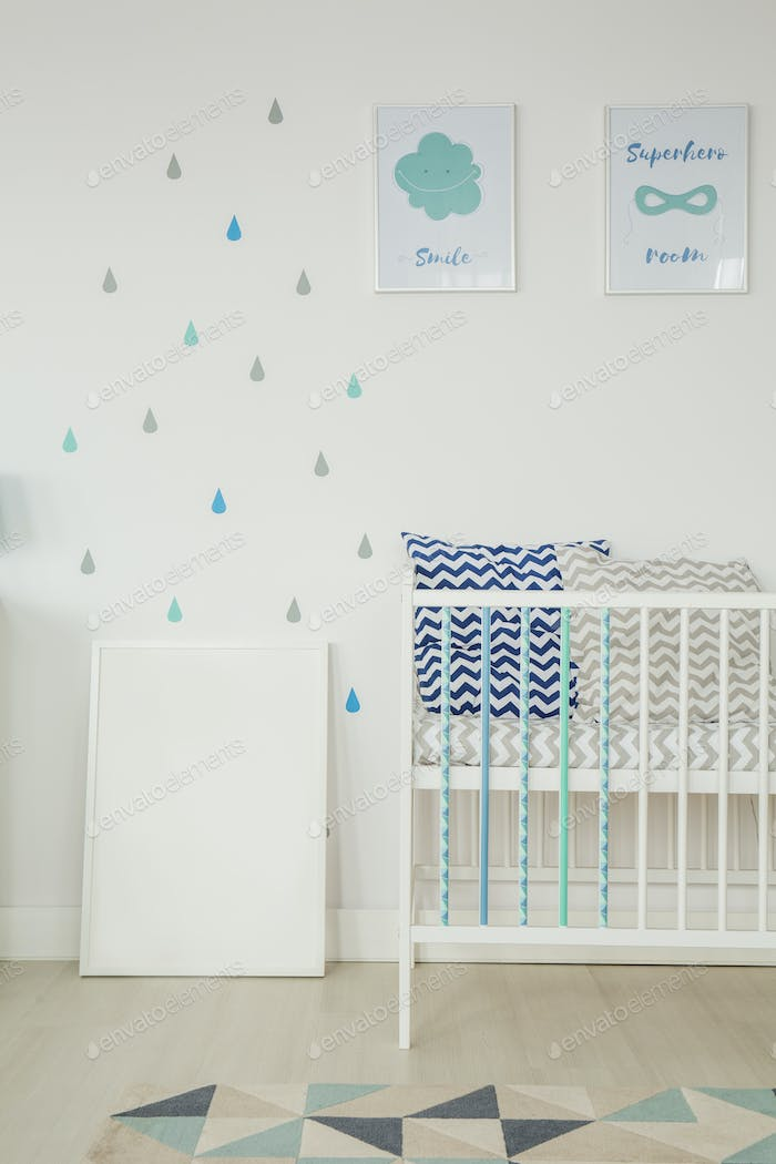 White room with baby cot