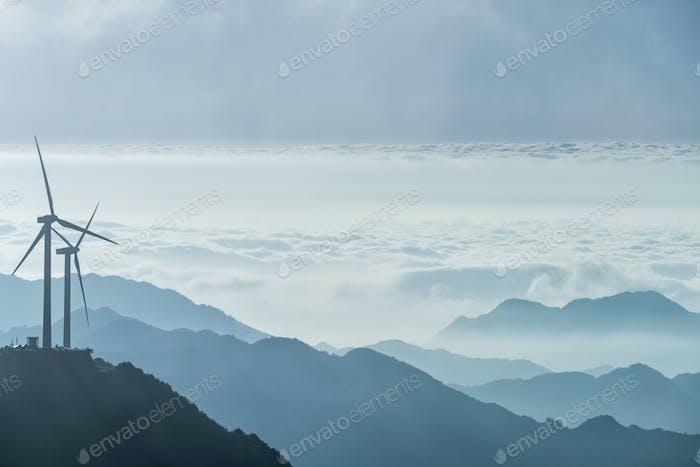 wind turbines on the mountain top