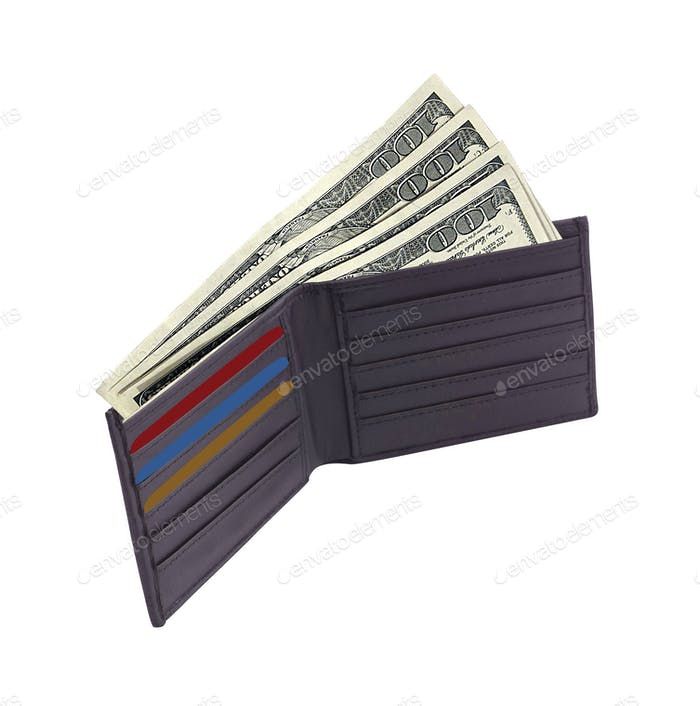 brown wallet with credit cards and dollars