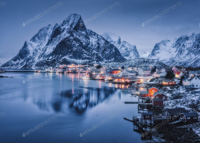 Reine at night, Lofoten islands, Norway. Winter