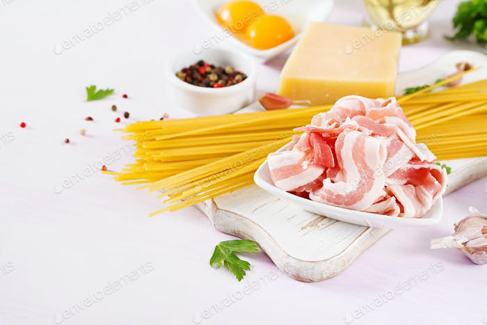 Bacon. Ingredients for cooking Carbonara pasta, spaghetti, egg, peppers, salt