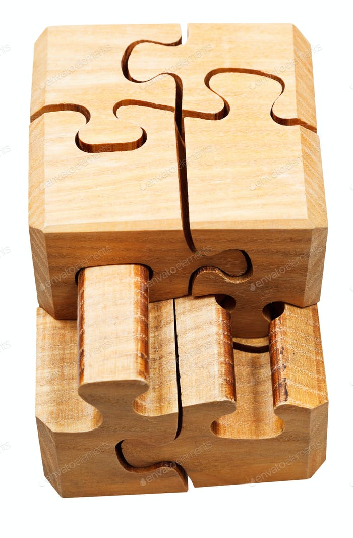 gathering of wooden mechanical puzzle