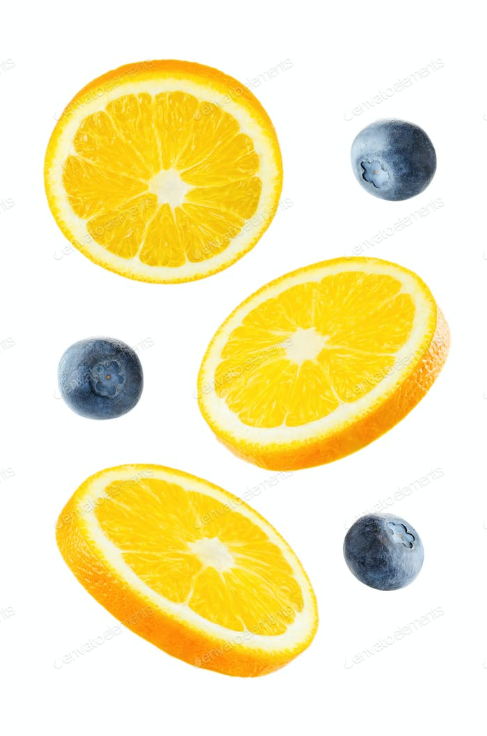 Flying Oranges with blueberries