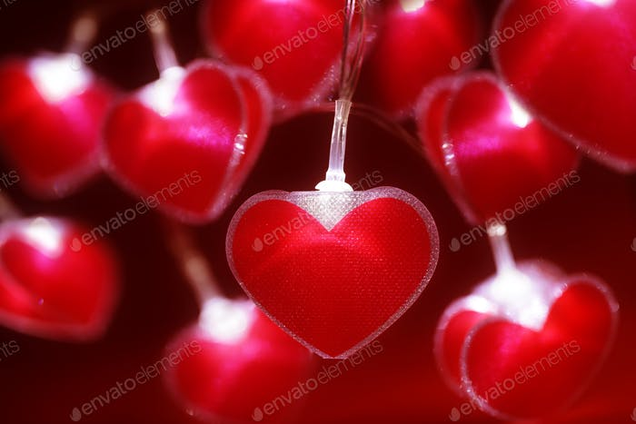 Red heart fairy lights Valentine's day background