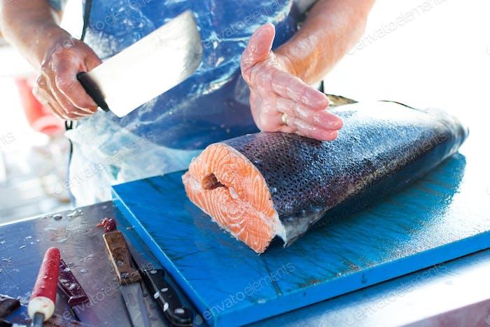 Portioning salmon