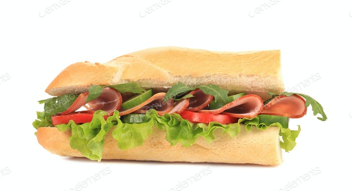 Half of french baguette sandwich.