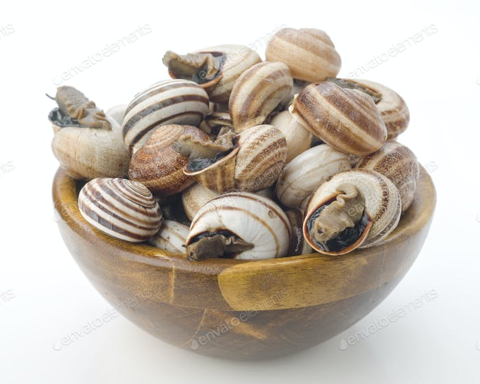 uncooked escargot in wooden bowl