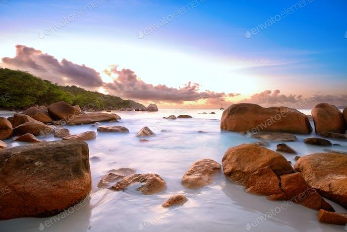 Seychelles rock's beach