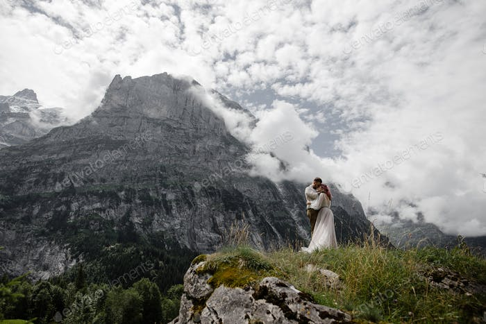 Young Wedding Couple Hugging in Majestic Mountains, Alps