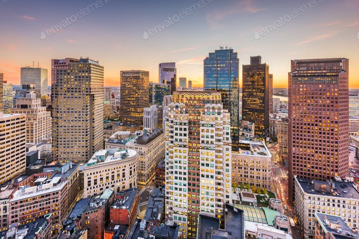 Boston, Massachusetts, USA downtown cityscape