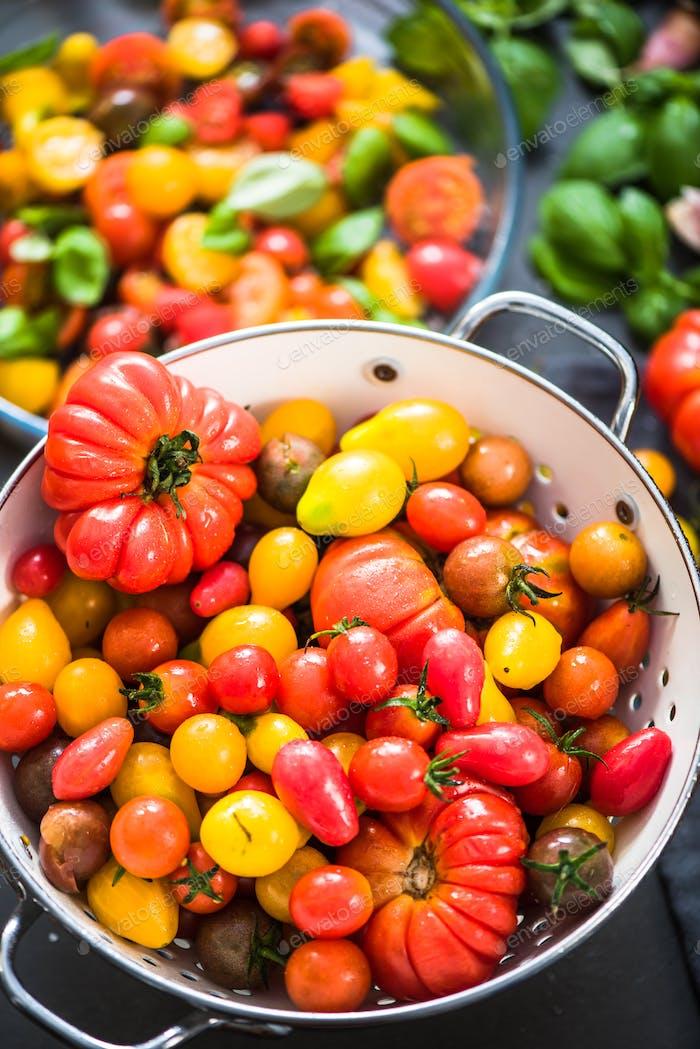 Vibrant variety of many fresh tomatoes