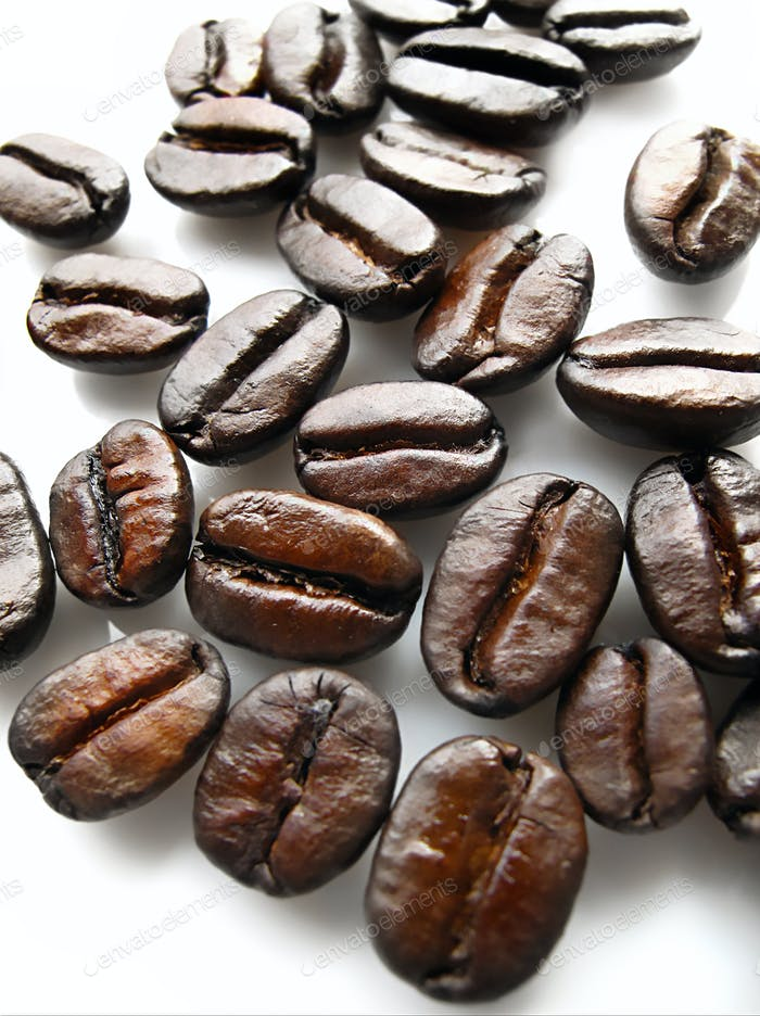 Сoffee beans on white background