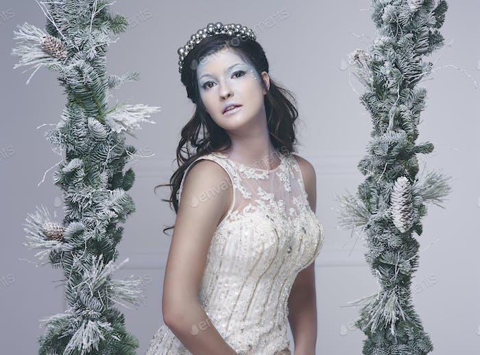 Portrait of snow fairy at studio shot