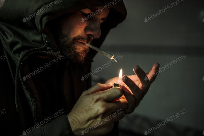 Homeless Adult Man Smoking Cigarette Addiction